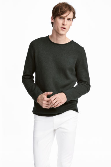 Fine-knit cotton jumper - Dark green - Men | H&M GB