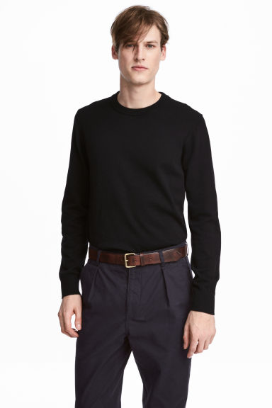 Fine-knit cotton jumper - Black - Men | H&M 1