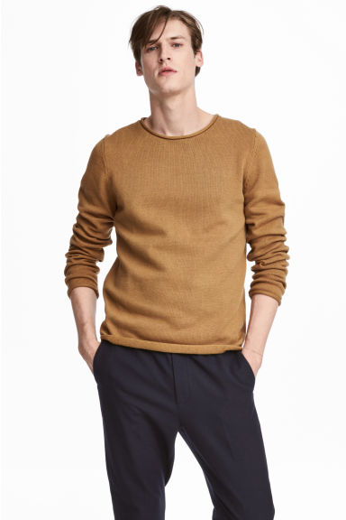 Fine-knit cotton jumper - Mustard yellow - Men | H&M CN 1