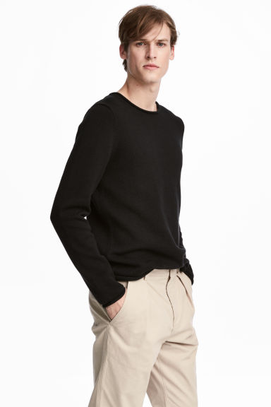 Fine-knit cotton jumper - Black - Men | H&M IE