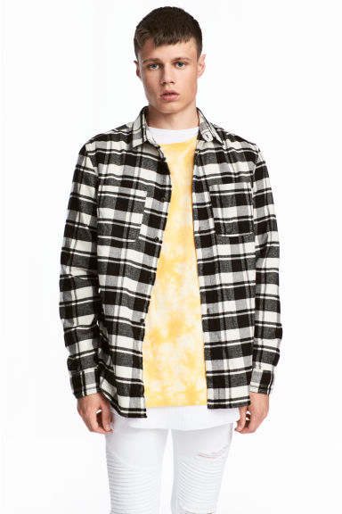 Flannel shirt - Black/White - Men | H&M CN