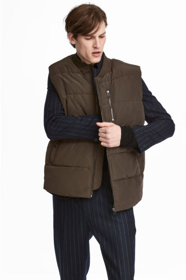 Padded gilet - Khaki green - Men | H&M 1
