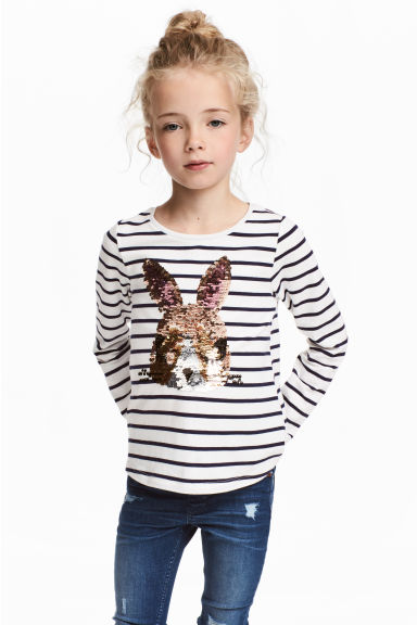 Jersey top with a motif - Blue striped/Rabbit -  | H&M 1