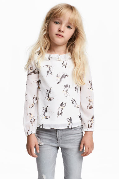Blouse with a frilled collar - White/Rabbits -  | H&M GB
