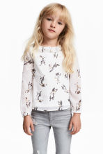 Blouse with a frilled collar - White/Rabbits - Kids | H&M 1