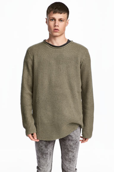 Textured-knit jumper - Khaki green - Men | H&M