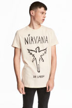 Cotton jersey T-shirt - Natural white/Nirvana - Men | H&M CN 1