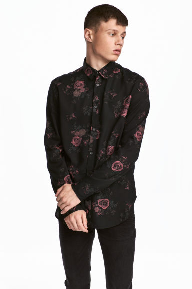 Viscose shirt - Black/Roses - Men | H&M 1