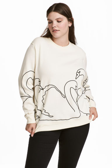 H&M+ Embroidered sweatshirt - Natural white/Swans - Ladies | H&M 1