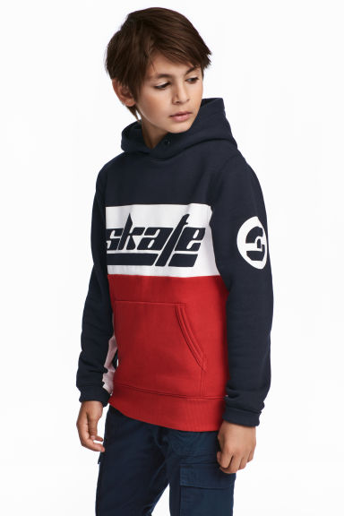 Hooded top - Red/Dark blue -  | H&M CN 1