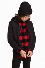 Knitted hooded jacket - Black - Kids | H&M CN 1