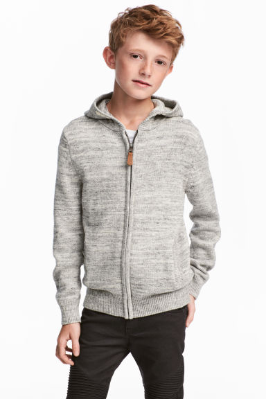 Knitted hooded jacket - Light grey -  | H&M