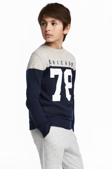 Fine-knit cotton jumper - Dark blue/Grey - Kids | H&M CN