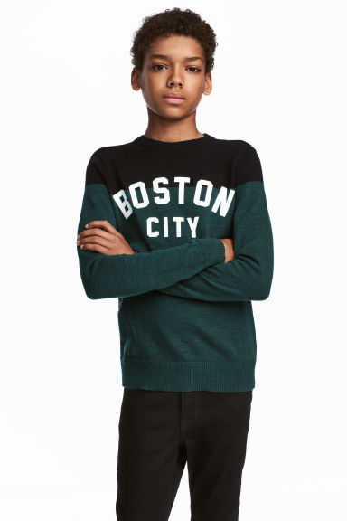 Fine-knit cotton jumper - Dark green/Black -  | H&M