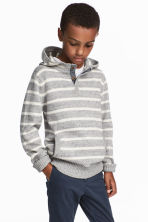 Knitted hooded jumper - Light grey - Kids | H&M 1