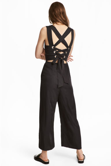 Jumpsuit with lacing - Black -  | H&M