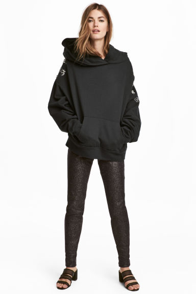 Pantaloni stretch glitter - Nero/glitter - DONNA | H&M IT 1