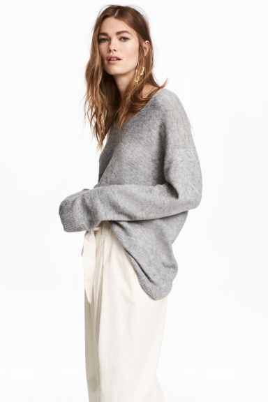 Fine-knit Sweater - Gray melange - Ladies | H&M CA 1
