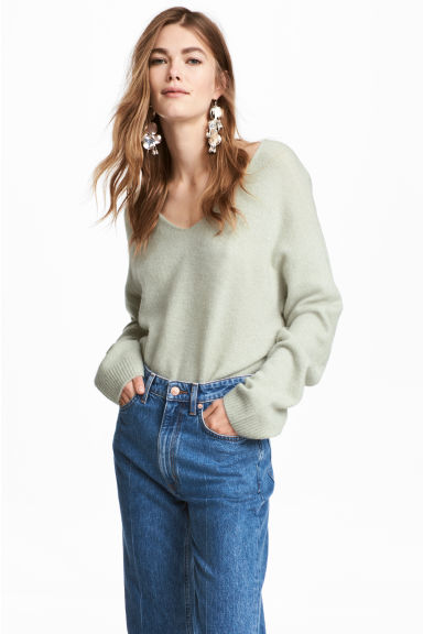 Fine-knit jumper - Dark green marl - Ladies | H&M CN 1