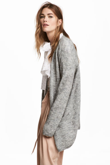 Mohair-blend cardigan - Grey marl - Ladies | H&M