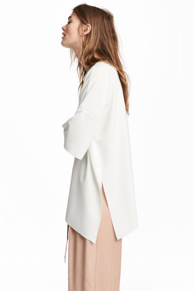 Wide top - White - Ladies | H&M CN