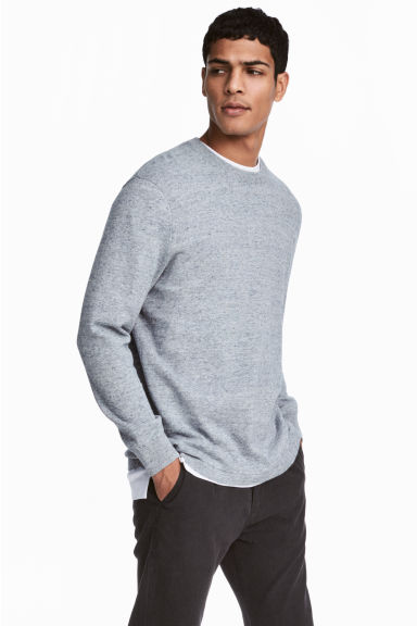 Slub-knit cotton jumper - Light blue marl - Men | H&M CN 1
