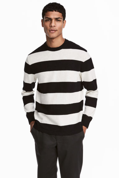 Slub-knit Cotton Sweater - Black/white striped -  | H&M CA 1