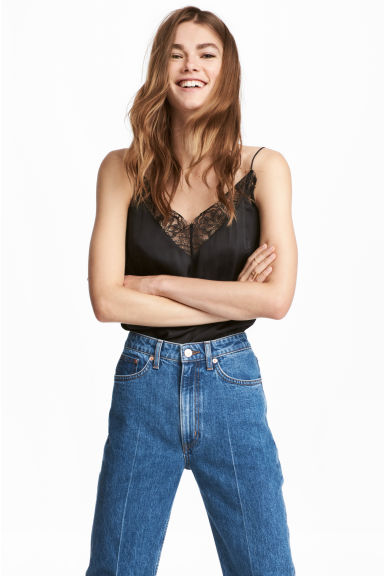Satin top - Black -  | H&M IE 1