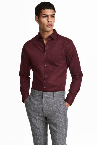 Overhemd van premium cotton - Bordeauxrood - HEREN | H&M NL 1