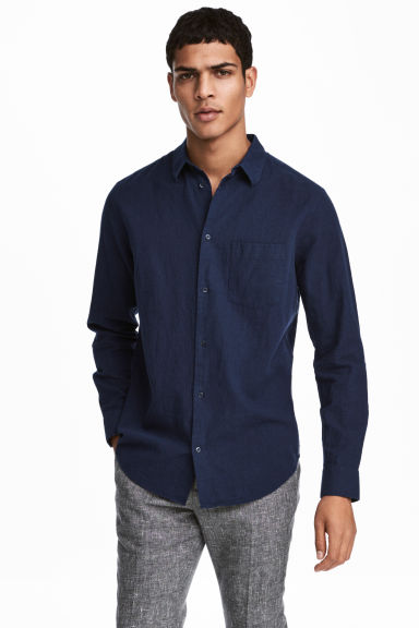 Linen-blend shirt Regular fit - Dark blue - Men | H&M 1