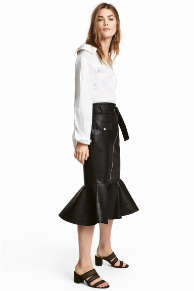 Imitation leather skirt - Black - Ladies | H&M IE