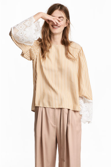 Striped blouse - Mustard yellow/White striped - Ladies | H&M CN 1