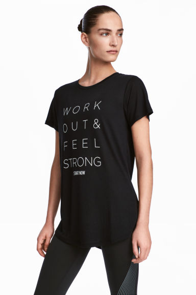 Printed sports top - Black - Ladies | H&M