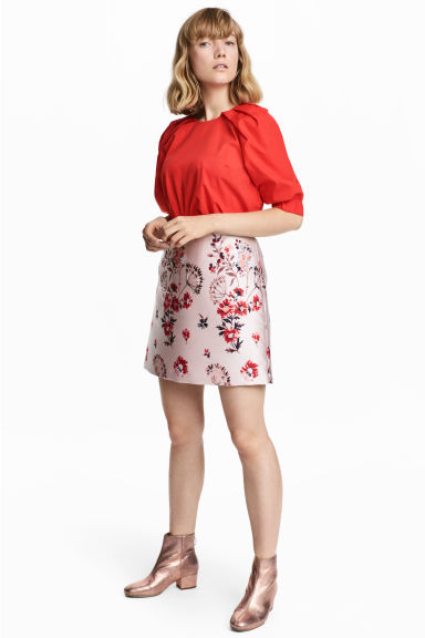 Jacquard-patterned skirt - Powder pink -  | H&M GB