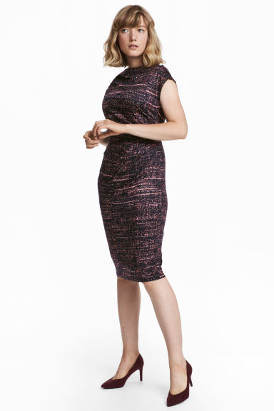 Draped dress - Black/Patterned - Ladies | H&M CN
