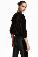 Velour sports jacket - Black - Ladies | H&M 1