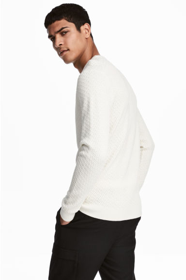 Cotton-blend jumper - White - Men | H&M