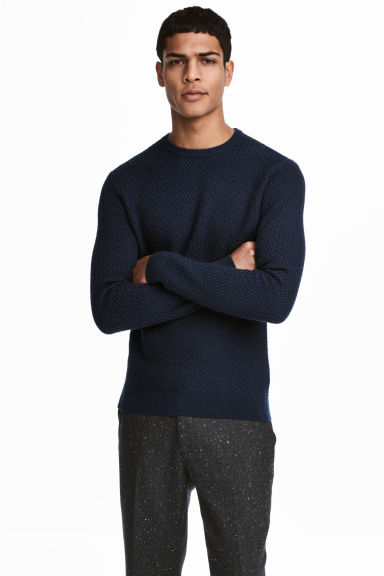 Cotton-blend jumper - Dark blue - Men | H&M CN 1