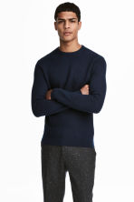 Cotton-blend jumper - Dark blue - Men | H&M 1