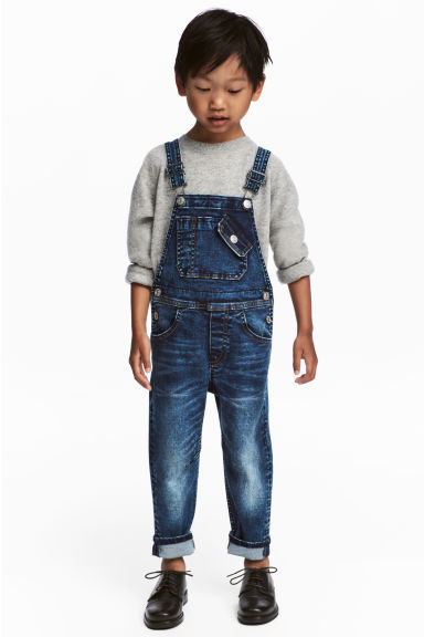 Denim dungarees - Dark denim blue - Kids | H&M 1