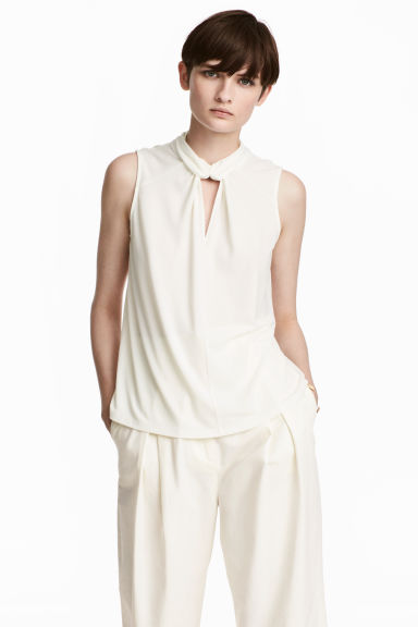 Jersey crêpe top - Natural white - Ladies | H&M GB