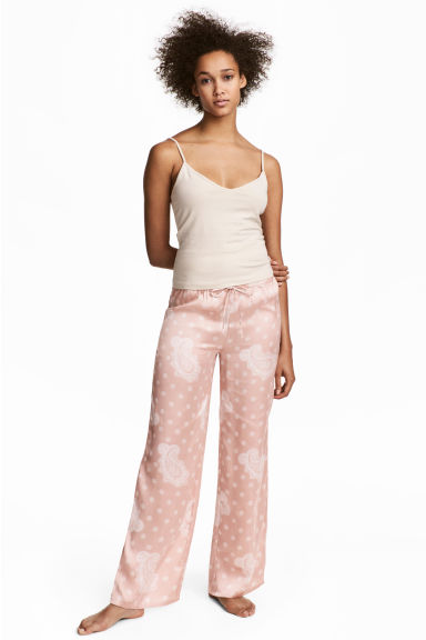 Satin pyjama bottoms - Pink - Ladies | H&M