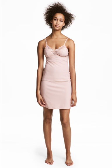 Ribbed microfibre nightslip - Light pink - Ladies | H&M 1