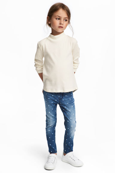 Patterned denim leggings - Denim blue/Spotted - Kids | H&M 1