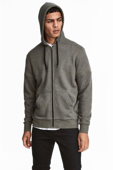 Sweat zippé Regular fit - Kaki chiné - HOMME | H&M FR