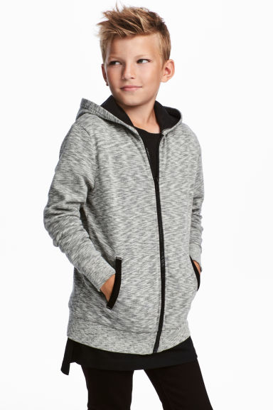 Sweat-shirt à capuche zippé - Gris chiné - ENFANT | H&M BE
