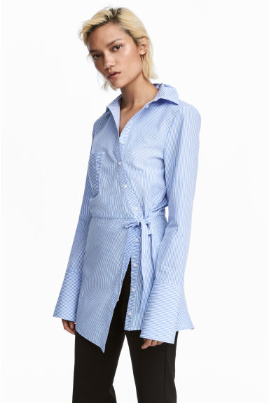 Asymmetric cotton blouse - White/Blue striped - Ladies | H&M GB 1