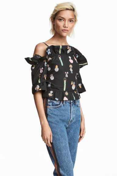 Crop top met volants - Zwart/dessin - DAMES | H&M BE 1