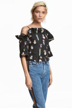 Cropped flounced top - Black/patterned - Ladies | H&M 1
