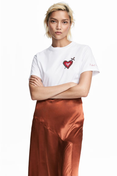 T-shirt in jersey con ricami - Bianco/cuore - DONNA | H&M IT 1